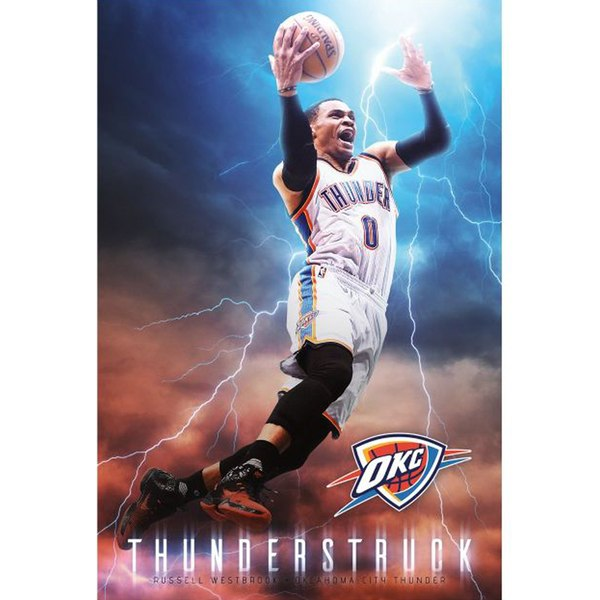 Oklahoma City Thunder Russell Westbrook Fathead Giant Removable Wall Mural