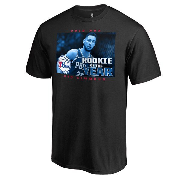 Men's Philadelphia 76ers Ben Simmons Fanatics Branded Black 2018 NBA Rookie of the Year T-Shirt